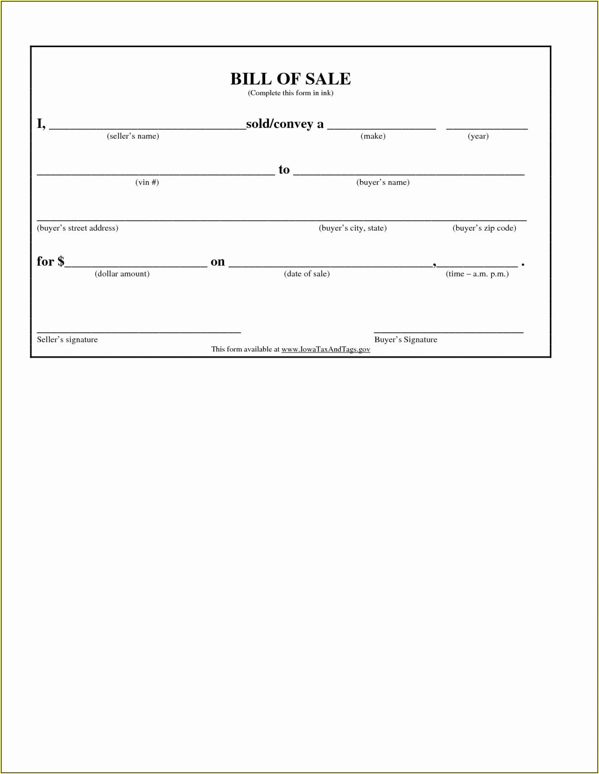 Simple Bill Of Sale Form Printable