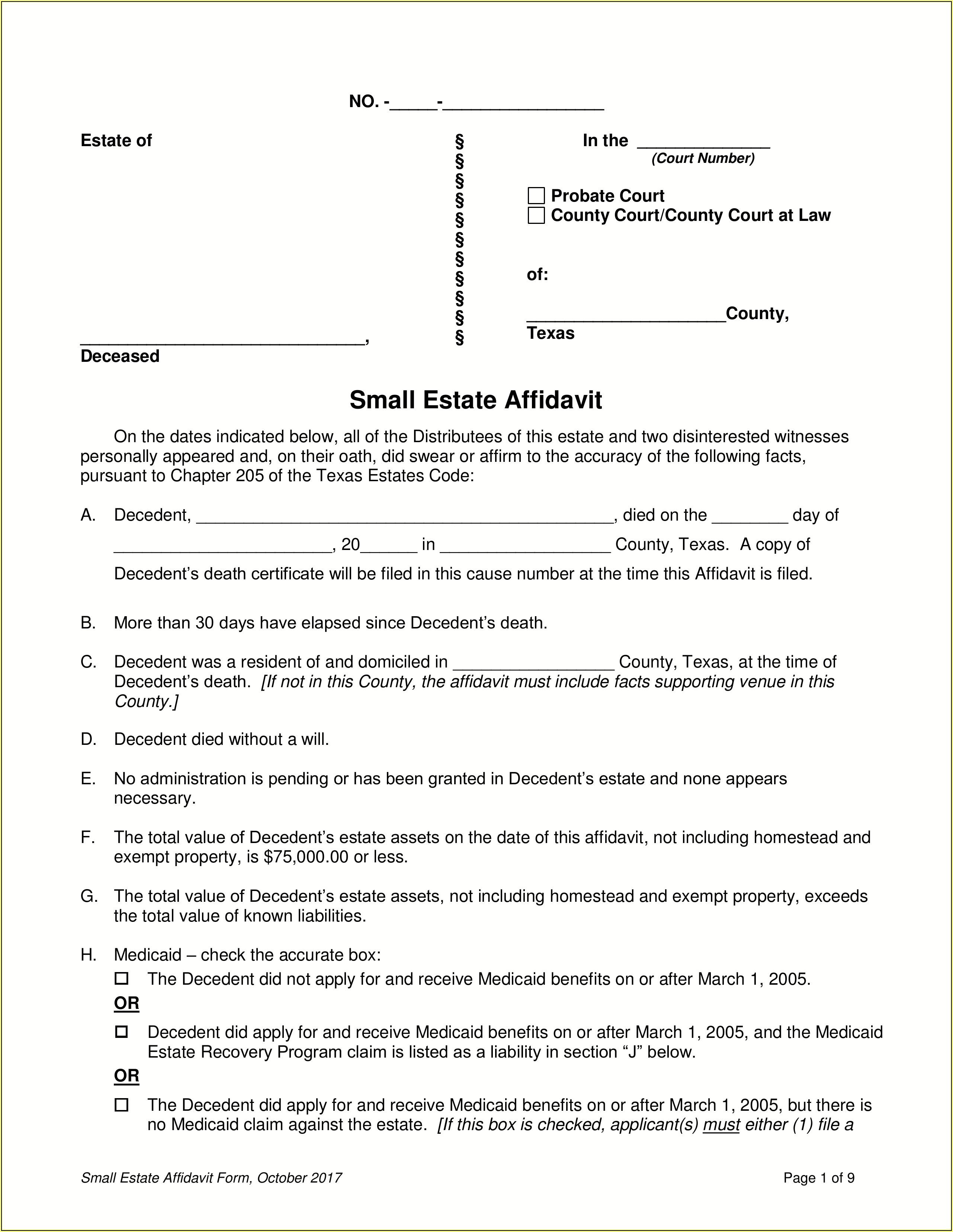 Small Estate Affidavit Form Tarrant County Texas
