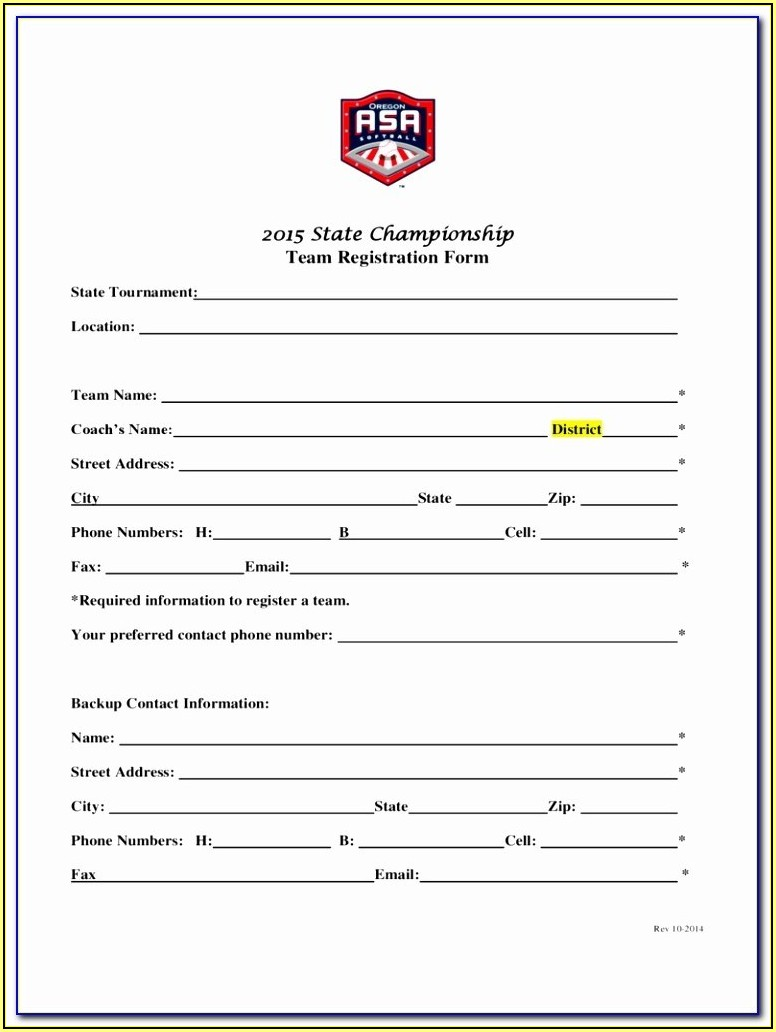 Sports Camp Registration Form Template Word