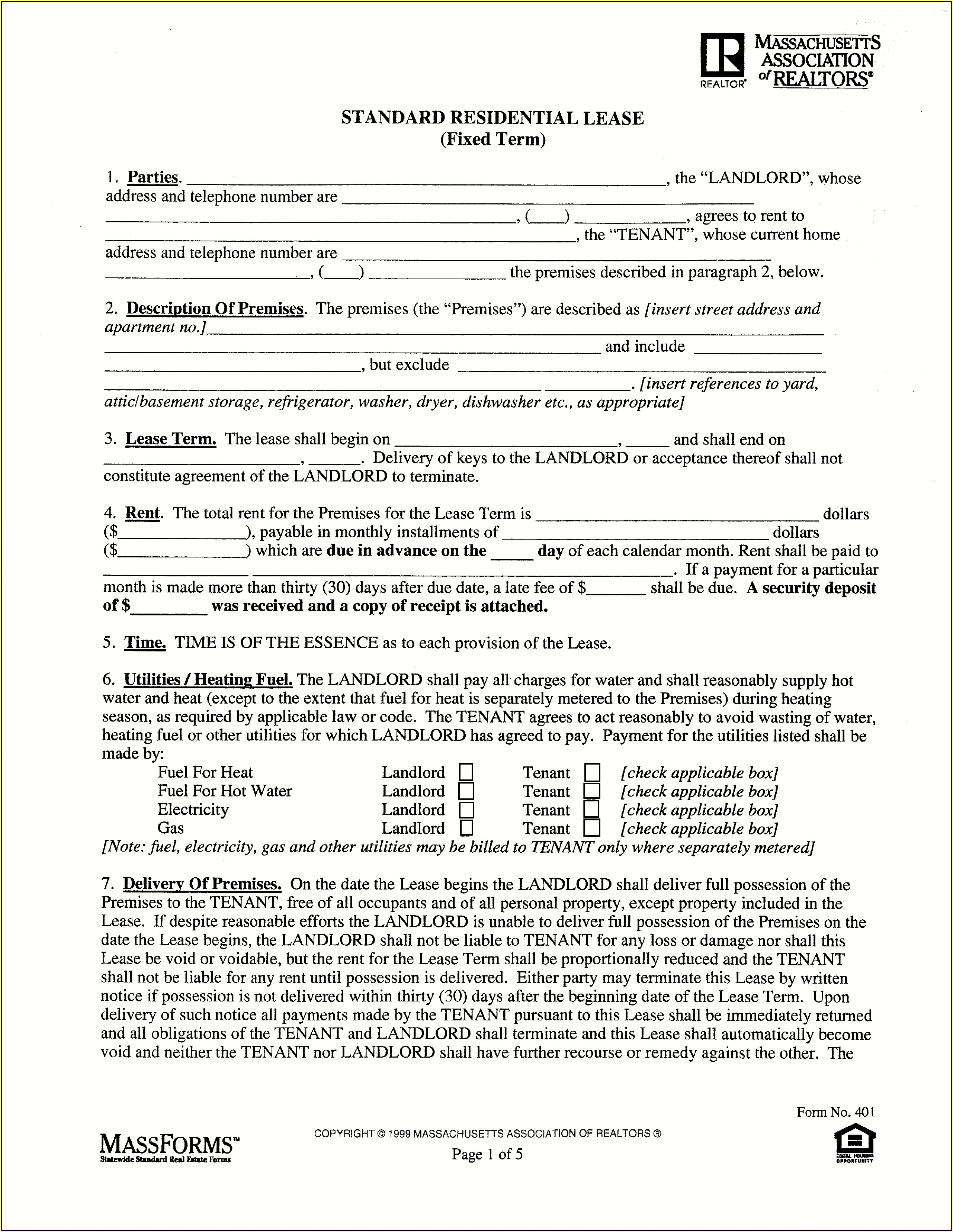 Standard Form Of Store Lease New York Real Estate Board