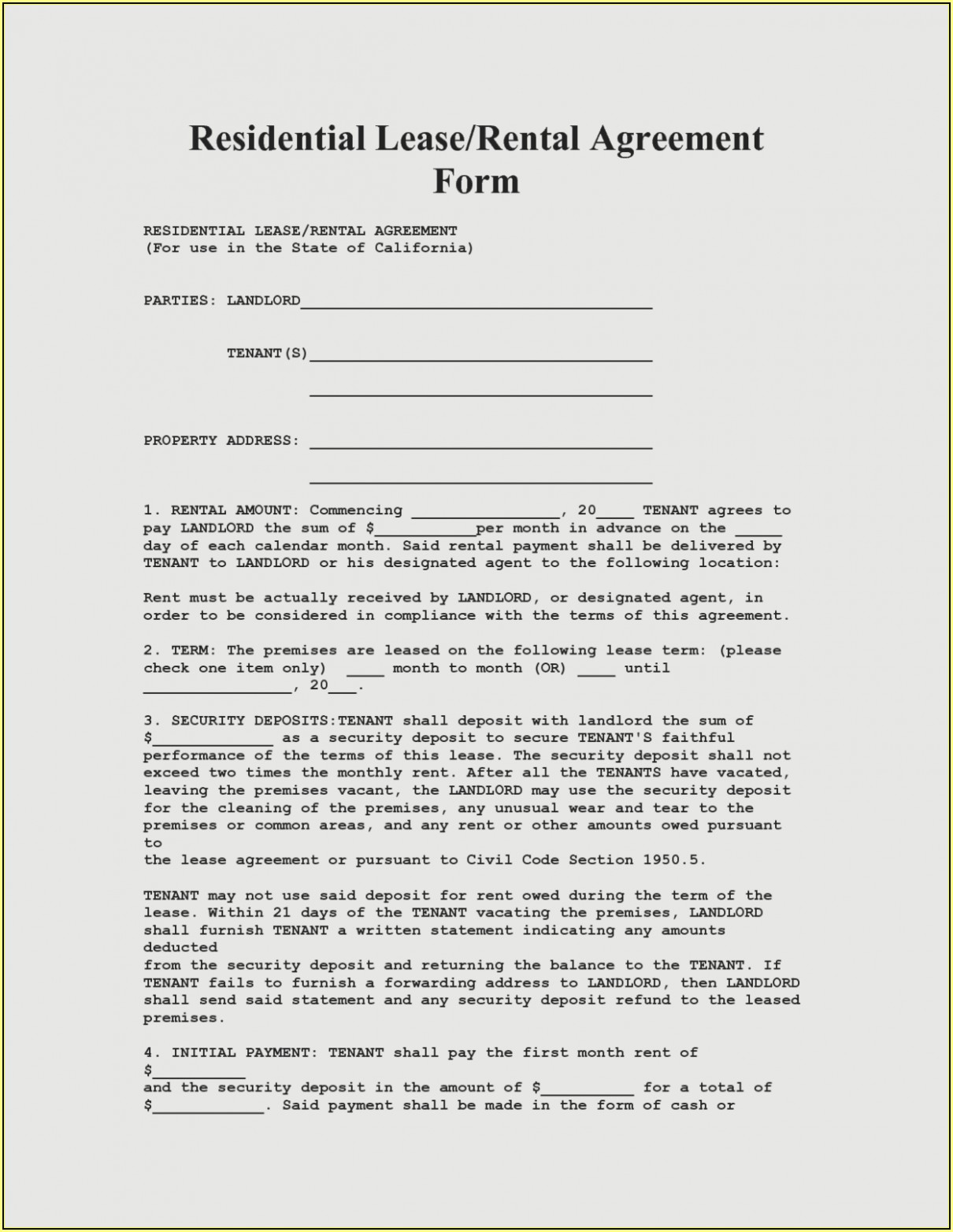 Staples Lease Agreement Forms