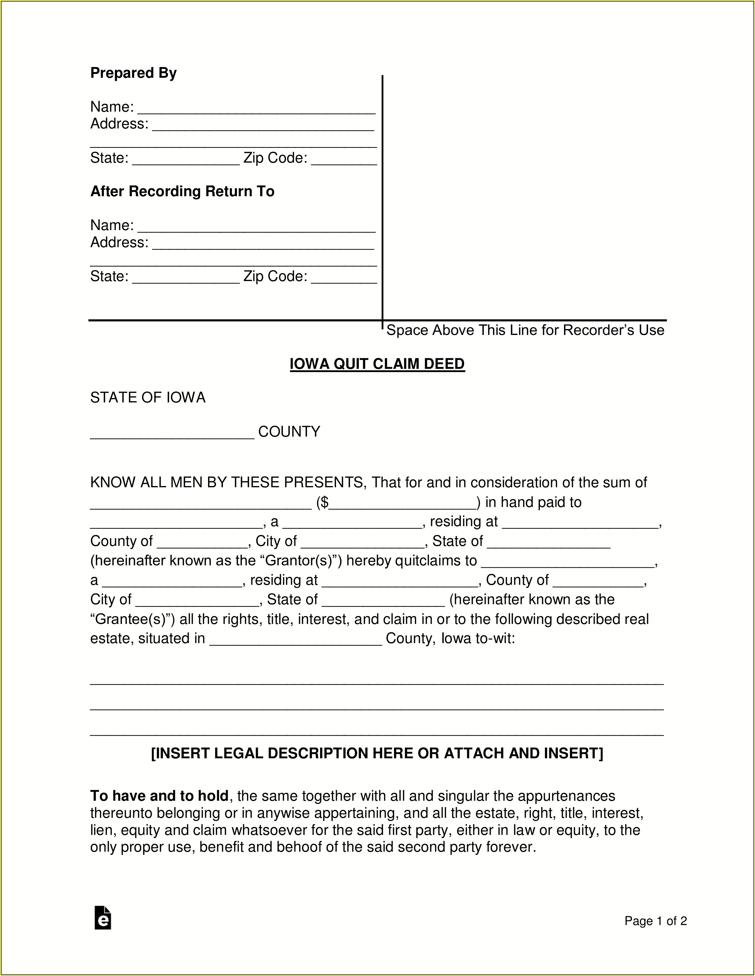 State Of Iowa Quit Claim Deed Form