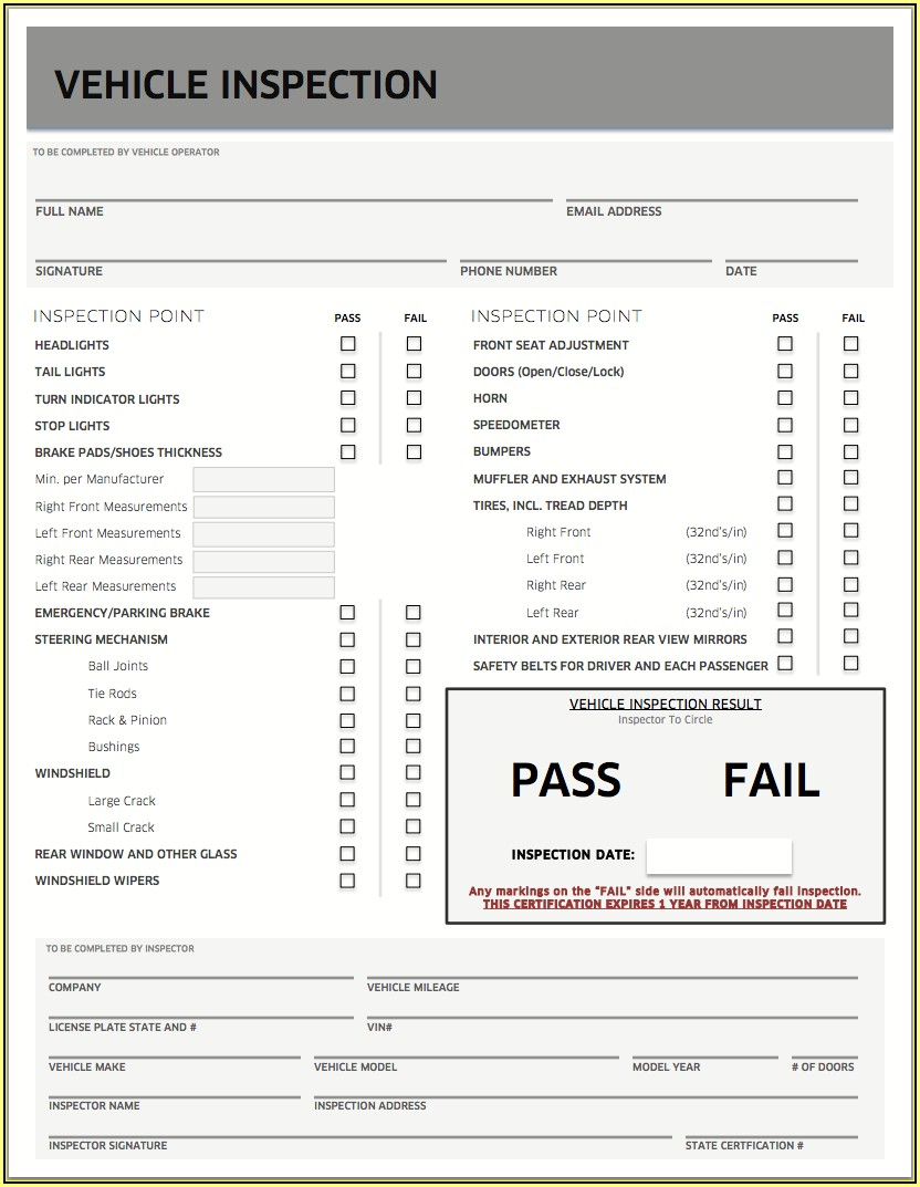 State Of Michigan Vehicle Inspection Form