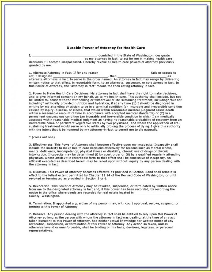 State Of Ohio Durable Power Of Attorney For Health Care Form