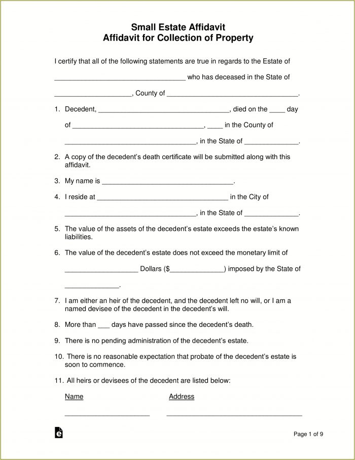 State Of Texas Small Estate Affidavit Form