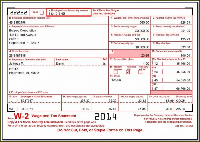 Tax Form W2c