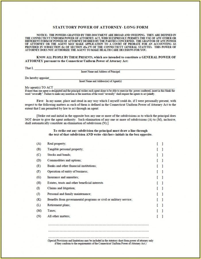 Texas Durable Power Of Attorney Form Free