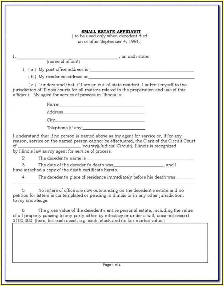 Texas Small Estate Affidavit Form Dallas County