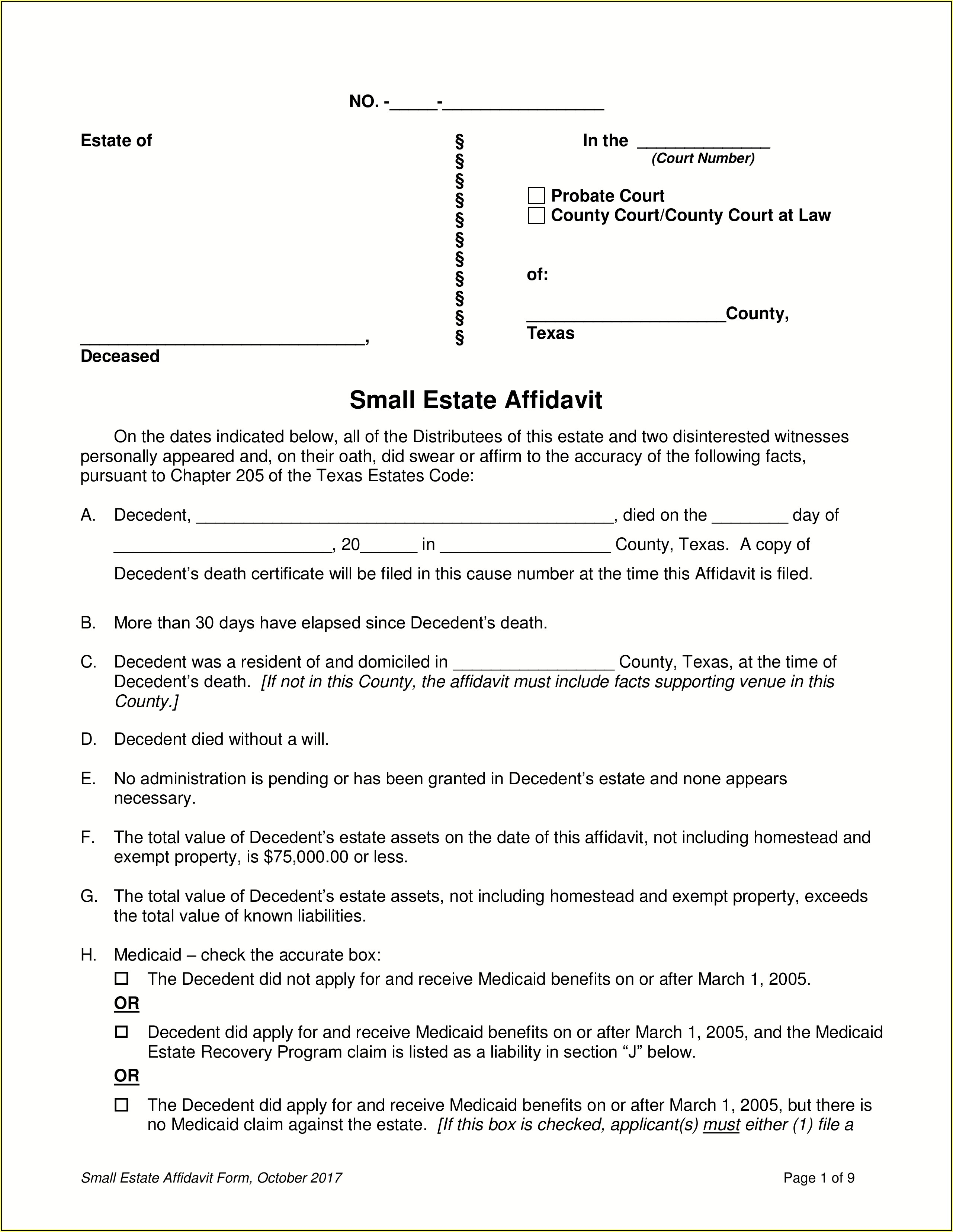 Texas Small Estate Affidavit Form Pdf