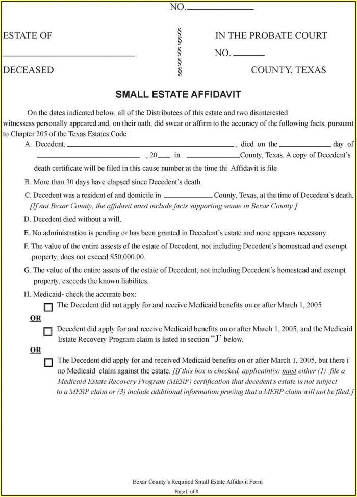 Texas Small Estate Affidavit Form Travis County