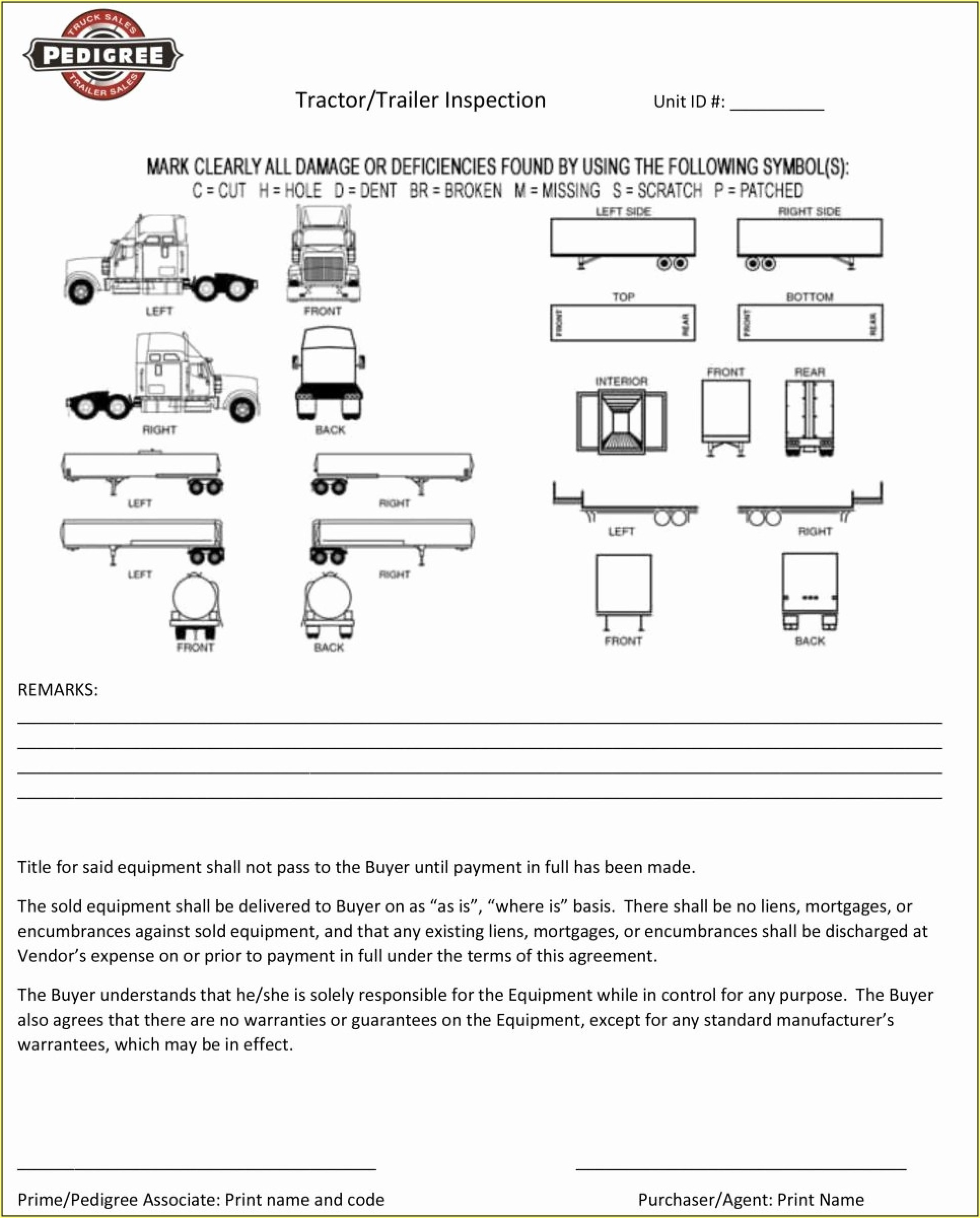 Tractor Trailer Damage Inspection Form