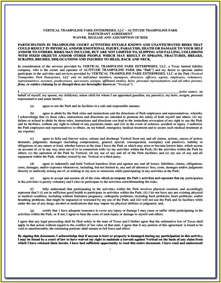 Trampoline Waiver Form Free