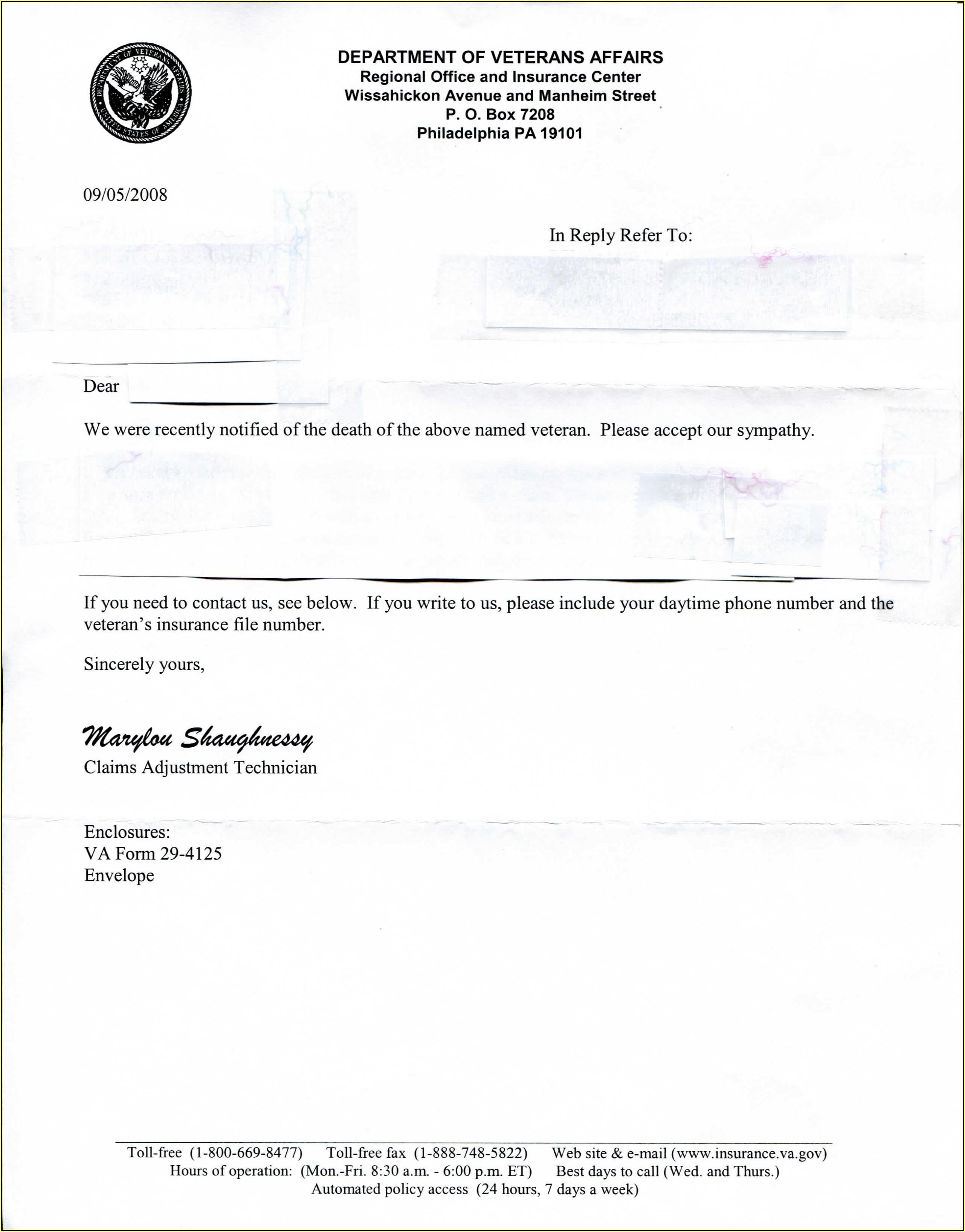 Va Claim Form 29 4125
