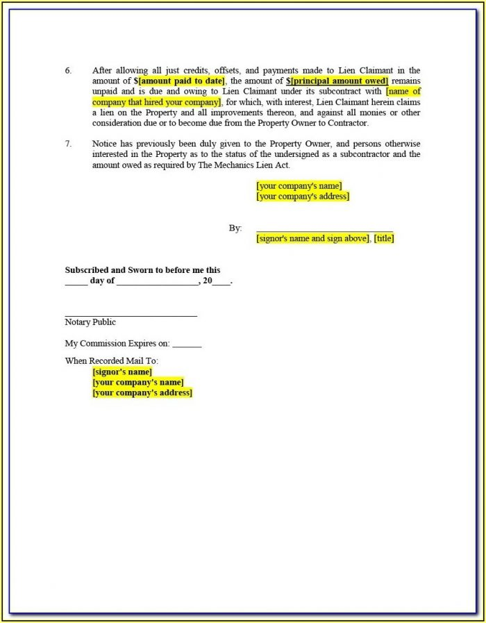 Va Mechanics Lien Form