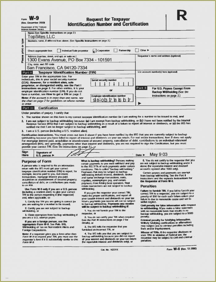W 9 Forms 2019 Printable