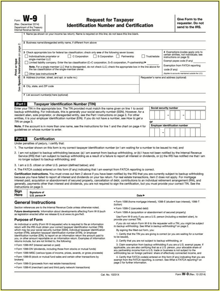 W 9 Forms Printable 2019