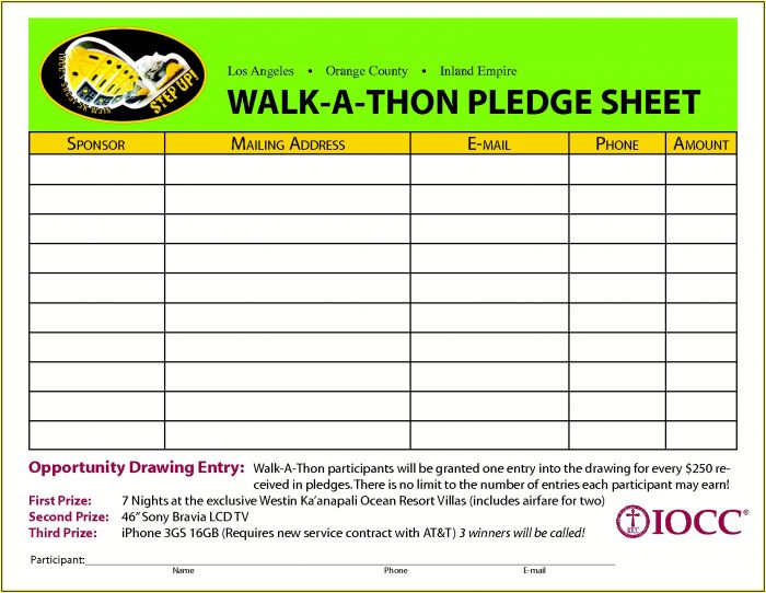 Walkathon Fundraiser Forms