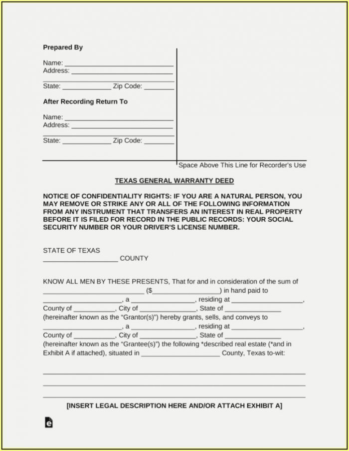 Warranty Deed Form Texas Free