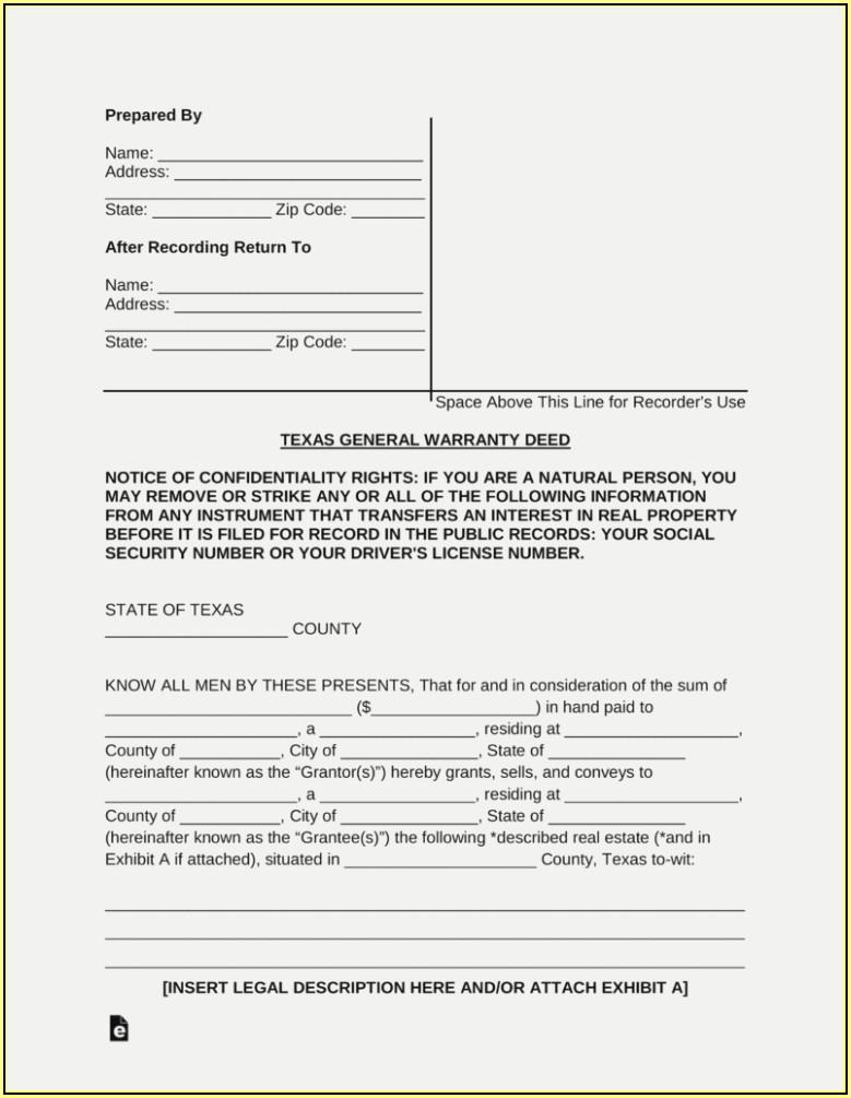 Warranty Deed Form Texas Free