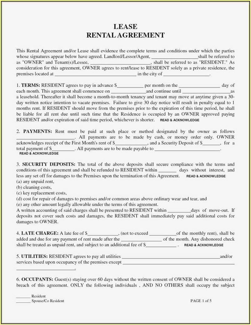 Where Can I Get A Residential Lease Agreement Form